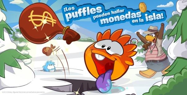 ¡Los Puffles pueden hallar monedas a las isla!